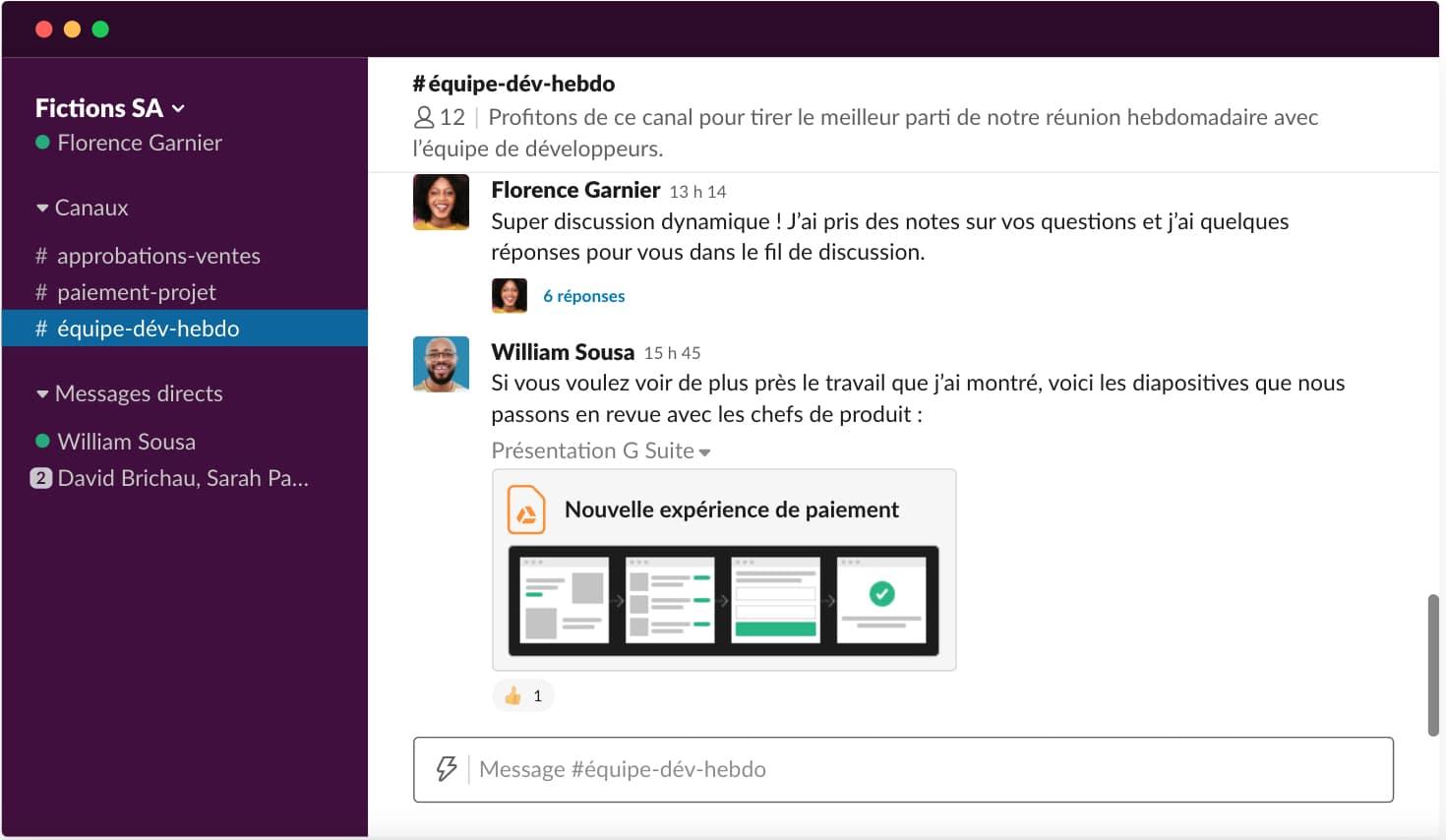 L'interface utilisateur Slack
